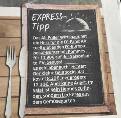 Speisekarte in Tafeloptik als Tipp