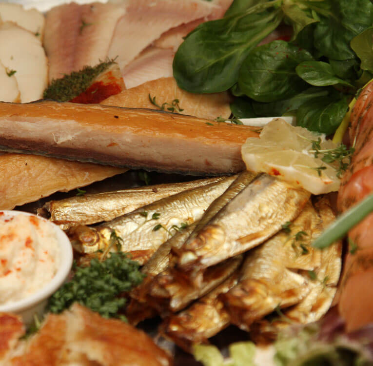 Silvestermenü: Fischplatte geräuchert